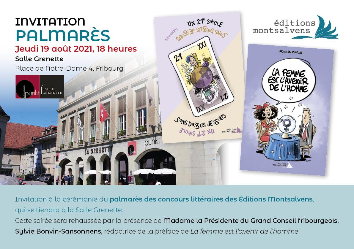 palmarès des concours littéraires des Éditions Montsalvens